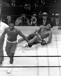 """In the Fight of the Century, """"Smokin Joe"""" Frazier became the first man to defeat Muhammad Ali. Frazier confidently heads for neutral corner after knocking out Muhammad Ali in the 15th round at Madison Square Garden. The decision was unanimous on that day in 1971."""