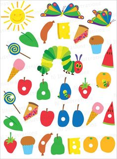 This hungry caterpillar birthday party set includes two colorful the very hungry caterpillar free printables google search bookmarktalkfo Image collections