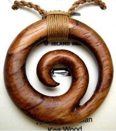 Genuine Koa Wood Hawaiian Jewelry Spiral Pendant Choker/Necklace # 45023