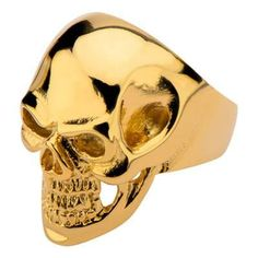 Tribal Hollywood Skull Ring Metal Mania Gold IP Steel Metal Meltdown