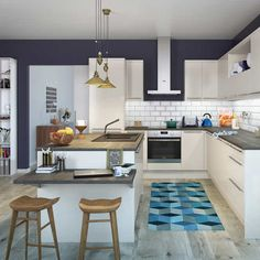 Modular kitchen design becomes a style affirmation of new kitchen design and contemporary design for modern house. Here we give you some best ideas! Cute Kitchen, New Kitchen, Elegant Kitchens, Cool Kitchens, Kitchen Colors, Kitchen Design, Blue Walls Kitchen, Style Deco, Up House