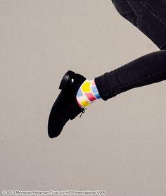Piet Mondrian Middle Socks(Black)