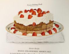 Filled with beautiful food illustrations Etsy Vintage Cooking, Vintage Recipes, Food Illustrations, Strawberry Shortcake, Ephemera, Vintage Items, Powder, Baking, Book