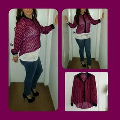 Purple and black high low chiffon blouse Facera blouse sz M chiffon oversized high low .  DO NOT buy from ME if you are wanting to complain. My pictures look exactly like my listings! If their is anything wrong I will list it. We work hard to work with you to get the clothing to you on time! If you have any questions just ASK before you BUY! Thank you. Facera Tops Button Down Shirts