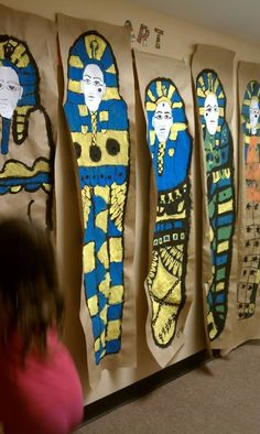 We made these life size. Had the kids lie down and traced them. They loved it. Egyptian Crafts, Egyptian Art, Egyptian Jewelry, Teaching History, Teaching Art, Ancient History, Art History, European History, American History