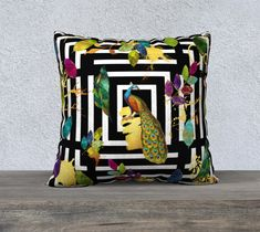 Pillow Cover, Geometric, Peacock and Leaves, Black and White, Gold Leaf, Accent Throw Pillow, Large Sofa Cushion, Upholstery Velveteen,
