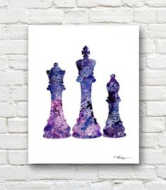 Chess Pieces Art Print Abstract Watercolor by 1GalleryAbove