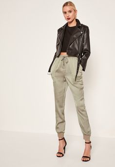 Missguided - Green Pocket Detail Cuffed Satin Joggers