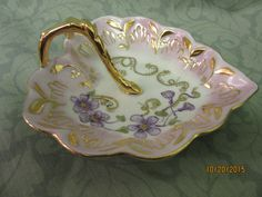 Porcelain Heart Shaped Dish Bowl with Handle, Candy or Ring Dish, trimmed in Gold, hand painted by B.Marsh by PorcelainChinaArt on Etsy