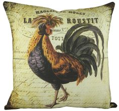Rooster Cotton Throw Pillow
