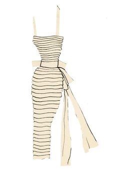 Yves Saint Laurent | fourreau dress paper doll collage ✭ vintage 50s fashion ✭ via Fondation Pierre Bergé Yves Saint Laurent