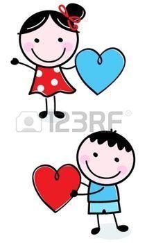 niños de palitos: Ilustración de niños felices con los corazones. Vector