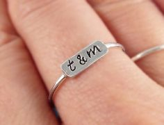 Sterling Silver Stamped Initial Ring, Silver Personalized Ring, Engraved ring, Silver Stamped ring, Dainty Stacking Ring, Silver ID Ring