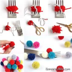 How to DIY Small Pom Poms with a Fork - 27 Inspirational Diy Pom Pom Concept Kids Crafts, Crafts To Sell, Easy Crafts, Diy And Crafts, Craft Projects, Easy Diy, Pom Pom Rug, Pom Poms, Diy Tricot Crochet