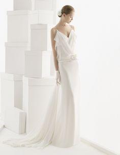 vintage-brautkleid v-ausschnitt gerade linie gürtel - Rosa Clara
