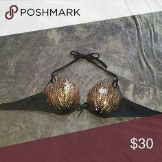 VS bling bikini top Rarely worn, all sequins still in tact. Padding is still in perfect condition. Victoria's Secret Swim Bikinis
