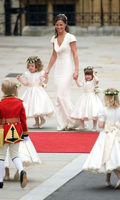 Maid-of-honour Pippa Middleton kept her eyes on the page boys and flower girls.Photo: Getty Images