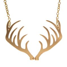 A pair of laser cut acrylic antler charms in mirrored gold or silver, linked in the middle and hanging from a plated chunky chain. They each measure approximately at the widest point. Jewelry Mirror, Charm Jewelry, Unique Jewelry, Jewelry Necklaces, Antler Necklace, Gold Necklace, Laser Cut Jewelry, Laser Cut Acrylic, Antlers