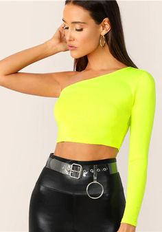To find out about the Neon Yellow One Shoulder Crop Tee at SHEIN, part of our latest T-Shirts ready to shop online today! Strappy Crop Top, Halter Crop Top, Cami Crop Top, Crop Tee, Neon Top, Long Sleeve Tee Shirts, Long Sleeve Crop Top, T Shirt, Cropped Tops