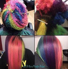 Creative rainbow hair @missprettynish  Read the article here - http://blackhairinformation.com/hairstyle-gallery/creative-rainbow-hair-missprettynish/