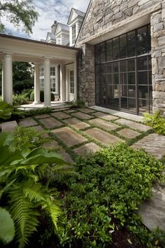 The mondo between the large pavers is a great effect.