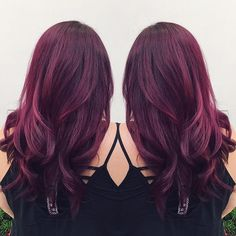Wonderful purple red hair color with natural waves, love this hairstyle so much