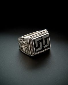 Konstantino Men's Prometheus Silver 6.00 ct. tw. Onyx Etched Ring is on Rue. Shop it now.