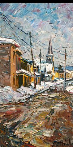 Raynald Leclerc - Saint-Urbain, Charlevoix City Landscape, Landscape Paintings, Charlevoix, Building Painting, Stoner Art, Palette Knife Painting, Canadian Art, Art Abstrait, Impressionism Art