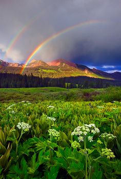 A double rainbow in the Colorado mountains.