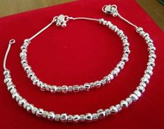 designer silver plated payal anklet with ball design 10 inch pair for womens Silver Heels Wedding, Ethnic Jewelry, Jewellery, Toe Rings, Ankle Bracelets, Anklets, Personalized Jewelry, Silver Color, Silver Plate