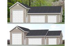 54x40 & 58x40 1-rv + 3-car Garage -- PDF Floor Plans
