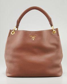 Daino Woven-Handle Hobo Bag, Brown by PRADA at Bergdorf Goodman.