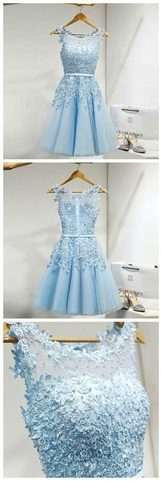 Tulle Homecoming Dress,Appliques Homecoming Dresses,Short Homecoming Dress,Prom Party Dress,Prom Gown My Bridal Hair Dresses Short, A Line Prom Dresses, Prom Party Dresses, Dresses For Teens, Dance Dresses, Formal Dresses, Dress Prom, Prom Gowns, Dresses Dresses