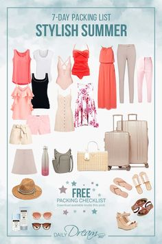 In this post, we share our travel tips for a seven-day summer packing list filled with fashion ideas for your vacation. Clothes are lighter and smaller in summe Summer Packing Lists, Packing List For Vacation, Packing For A Cruise, Packing Checklist, Packing Tips, Travel Packing Outfits, Cruise Tips, Travel Wardrobe, Capsule Wardrobe