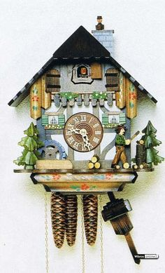 Cuckoo Clock 1-day-movement Chalet-Style 28cm by Hekas - 3647