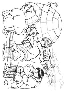 Three Snow Bears Husky Pups coloring page Jan Brett Animal Coloring Pages, Coloring Book Pages, Artic Animals, Polo Norte, Eskimo, Pete The Cats, Bear Theme, Art Lessons Elementary, Husky Puppy