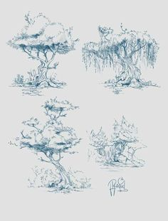 Concept art of trees on behance tree sketches, drawing sketches, drawings of trees, Tree Sketches, Art Drawings Sketches Simple, Realistic Drawings, Landscape Sketch, Landscape Drawings, Landscape Design, Landscape Art, Landscape Architecture, Architecture Design