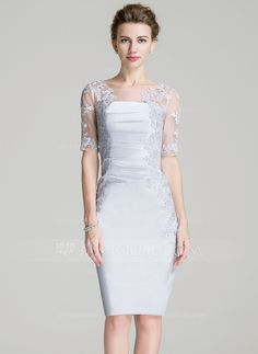 Sheath/Column Scoop Neck Knee-Length Ruffle Appliques Lace Zipper Up Sleeves 1/2 Sleeves Yes 2016 Other Colors General Plus Satin Mother of the Bride Dress
