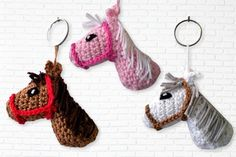 If you are looking for one cute keychain pendant this is perfect for you. With this keychain you'll little girl making a huge joy, because all little girls love horses. The keychain is NOT crochet as Amigurumi, it is crochet in 2 parts, which are croche Crochet Gifts, Crochet Toys, Free Crochet, Crochet Keychain Pattern, Crochet Bookmarks, Easy Handmade Gifts, Cute Keychain, Keychain Ideas, Crochet Animals