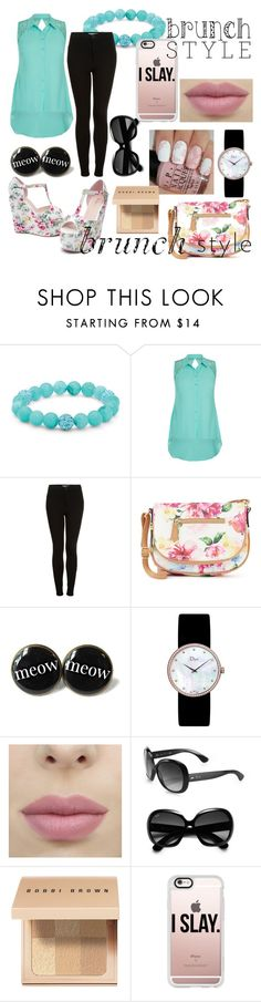 """Floral Brunch Style"" by ailyy ❤ liked on Polyvore featuring beauty, Palm Beach Jewelry, City Chic, Topshop, Apt. 9, Christian Dior, Ray-Ban, Bobbi Brown Cosmetics and Casetify"