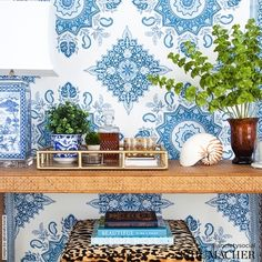 Montecito medallion fabric by F Schumacher Wallpaper Size, Wall Wallpaper, Mark Sikes, Chinoiserie Motifs, Luxury Flooring, Hawaii Homes, Blue China, India, Printed Linen