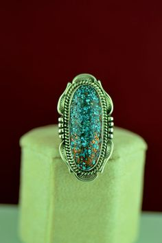 Navajo – Sterling Silver Copper Vein Kingman Turquoise Ring by Will Denetdale Size 6