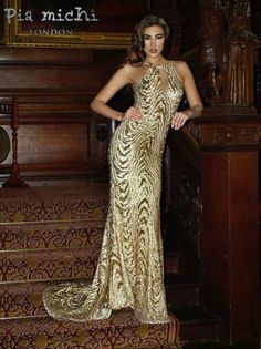 Gold sequinned high neck dress from Pia Michi.