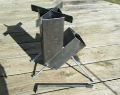 Rocket Stove Self Feeding Gravity Feed Design all welded steel construction