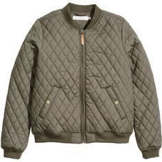 H&M Quilted bomber jacket ($28) ❤ liked on Polyvore featuring outerwear, jackets, tops, coats & jackets, khaki green, h&m jackets, brown jacket, flight jacket, khaki jacket and green jacket