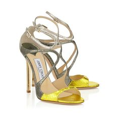 Acid Yellow, Dark Moss and Marble Metallic Elaphe Mix Strappy Sandals... ❤ liked on Polyvore featuring shoes, sandals, strap sandals, strappy sandals, jimmy choo, yellow shoes and strap shoes