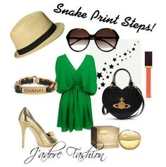 Love the emerald green dress, hat, sunglasses, and gold snakeskin pumps.