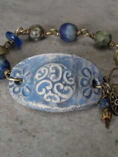 Stonewashed Denim ... Ceramic and Brass Bracelet by juliethelen