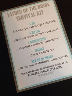 Father of the Bride Survival Kit - 5x7 - Postcard - Hard Copy Set on Etsy, $2.50
