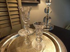 Vintage GLASS CANDLE STICKS Pair of by VintageCreativeAccen
